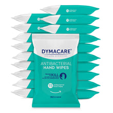 Load image into Gallery viewer, dymacare antibaterial wipes are sold in bulk - 20 packs, 15 wipes each. That's 300 skin sanitizing rinse-free wet wipes in total. Sure to last you for a while. And what's best they are proven to kill bacteria and coronaviruses.