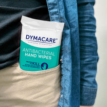 Load image into Gallery viewer, dymacare antibacterial wipes are packed in a convenient, resealable  15 wipe pack. They will simply fit into your pocket, purse or suitcae.Clean skin and peace of mind anywhere you go.