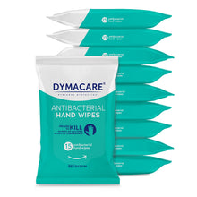 Load image into Gallery viewer, dymacare antibaterial wipes are sold in bulk - 10 packs, 15 wipes each. That's 150 skin sanitizing rinse-free wet wipes in total. Sure to last you for a while. And what's best they are proven to kill bacteria and coronaviruses.