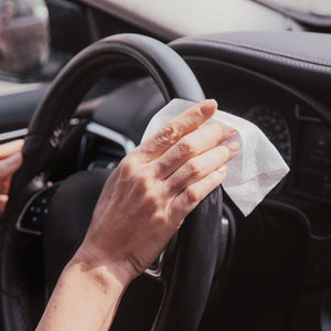 dymacare antibacterial hand wipes can be ideal for car journeys, simple all around disinfection, even for steering wheel, door handle disinfections and to sanitise surfaces you frequently touch.