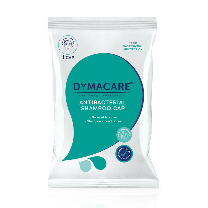 dymacare antibacterial shampoo cap is an idea  dry shampoo alternative with antibacterial protection. Great for operational hospital baths, when there's no bath, shower or water available. they are proven to ill 99.999% of bacteria. Loved by nurses, carers, people with disabilites. Ideal for ICU baths and infection prevention in hospitals.