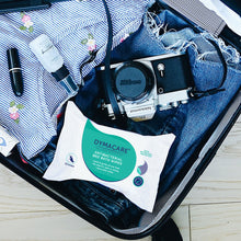 Load image into Gallery viewer, dymacare antibacterial wet wipes are perfect for travel, flights  so you can keep you skin clean and coronavirus free
