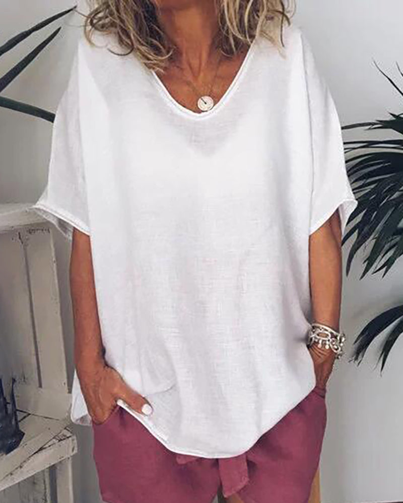 Solid Color Casual Loose Top