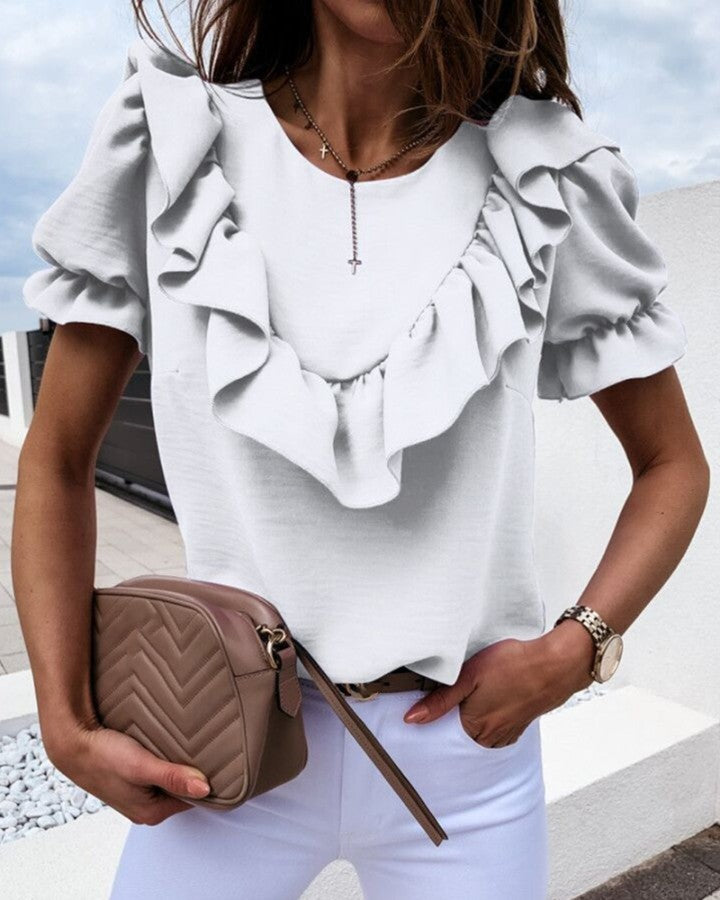 Puffed Sleeve Ruffles Casual Blouse