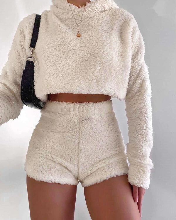 Plush Top Shorts Two-piece Sets