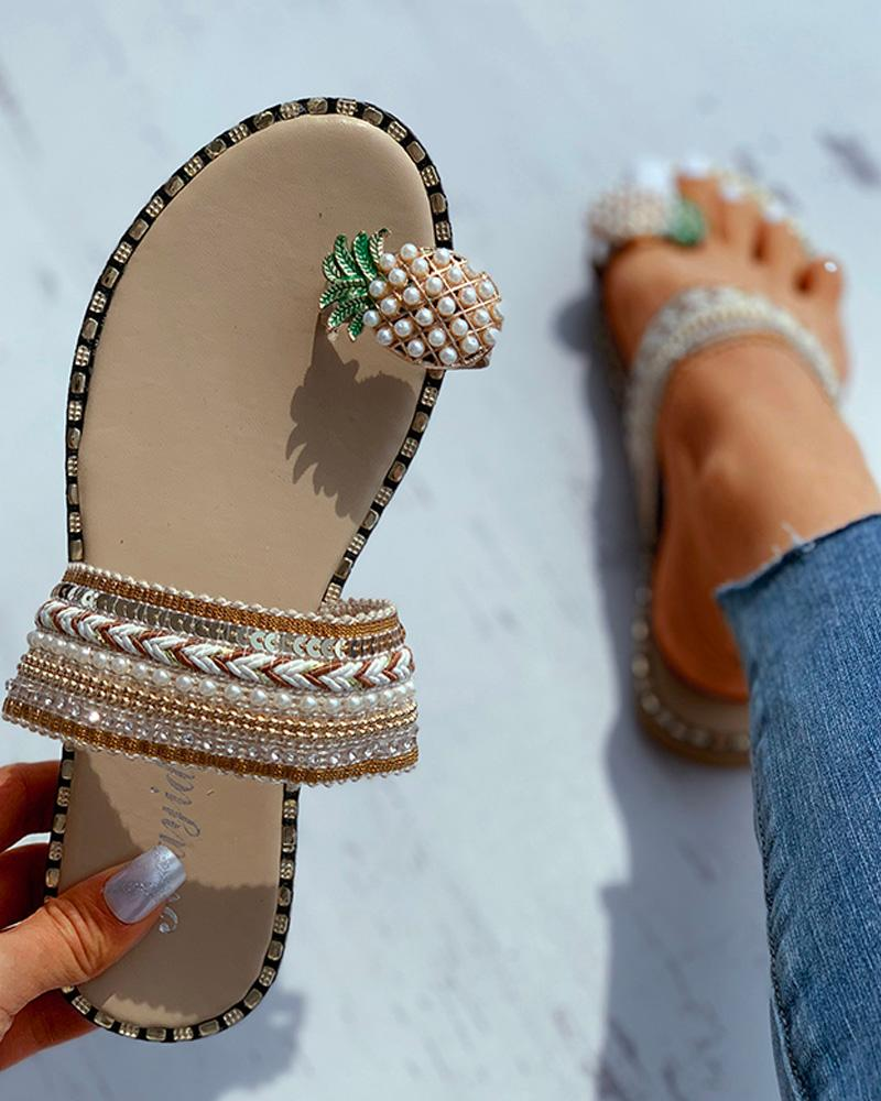 Pineapple Pattern Toe Ring Flat Sandals