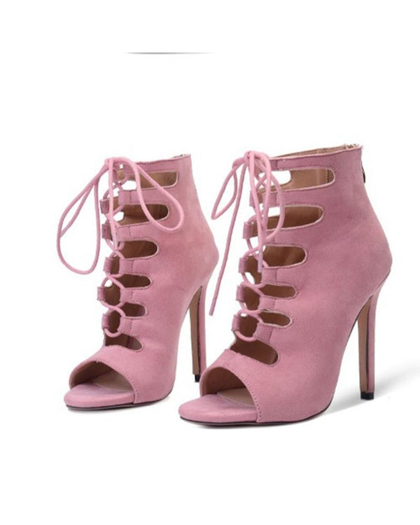 Solid Lace-up Pee-toe Cut-out High Heels Ankle Boots