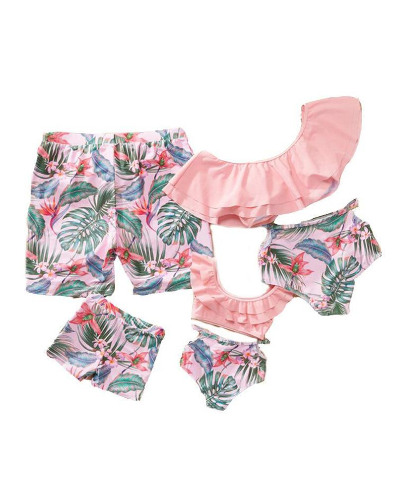 Ruffle Trim Bikini Set For Toddler Girls