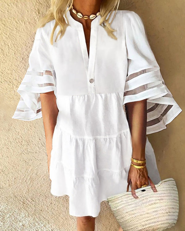 Sheer Mesh Bell Sleeve Ruched Casual Dress