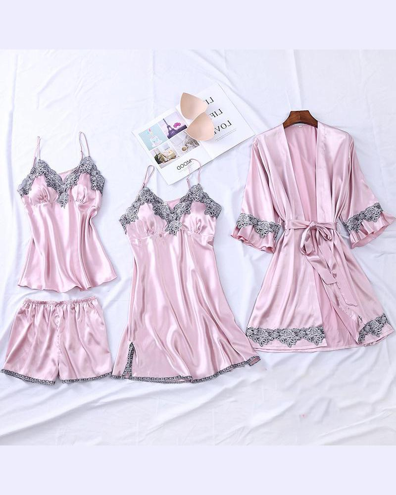 Satin Lace Detail Pajama Set