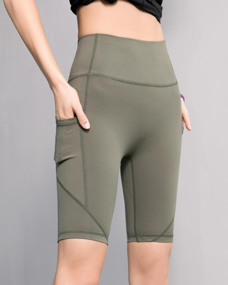 High Waist Elastic Gym Shorts