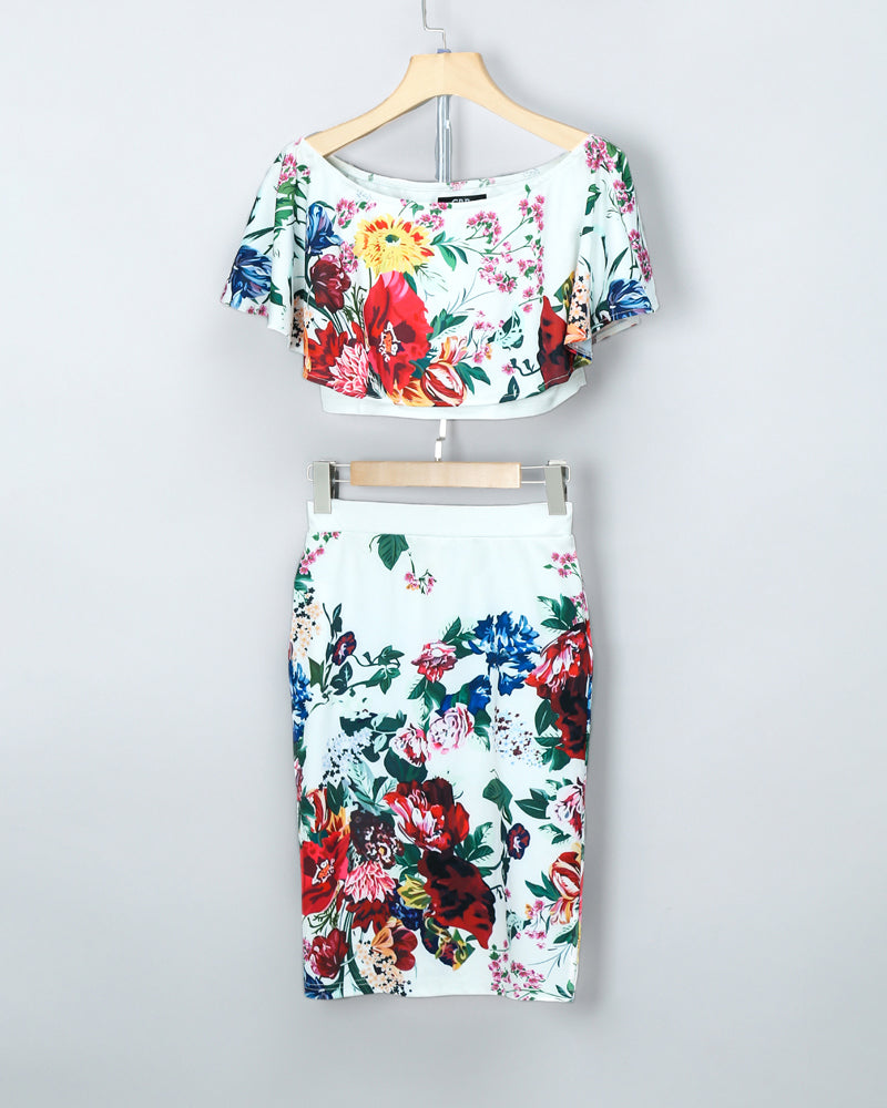 Floral Print Off Shoulder Cropped Top & Skirt Set