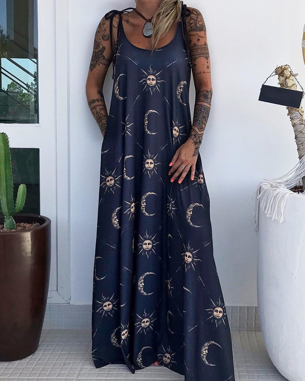 Sun And Moon Print Maxi Dress