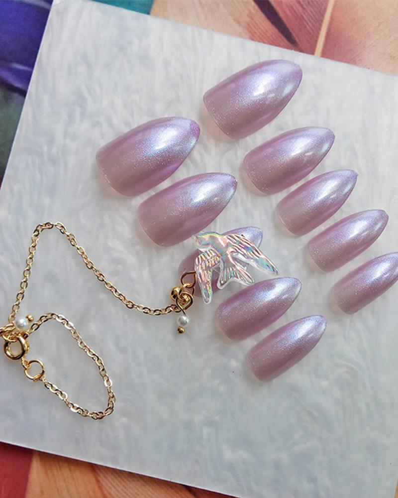 Gold Chain Purple Glue Nail Patch