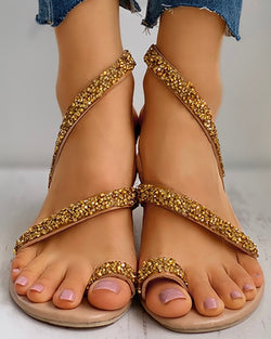 Glitter Studded Strap Toe Ring Flat Sandals