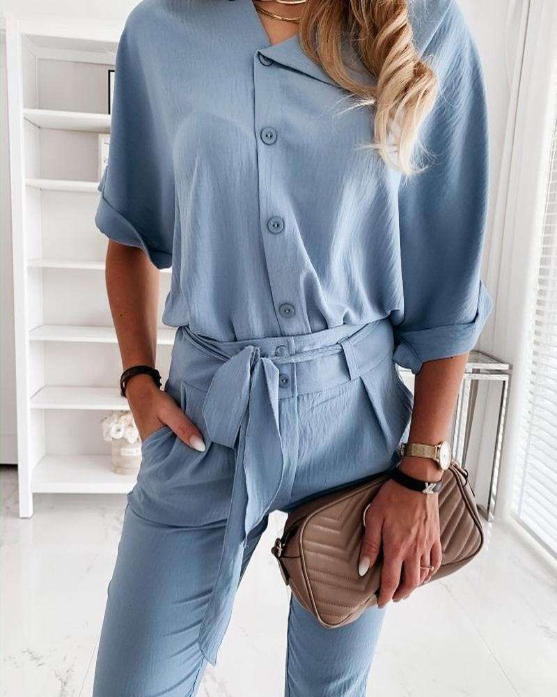 Short Sleeve Solid Top & Long Pant