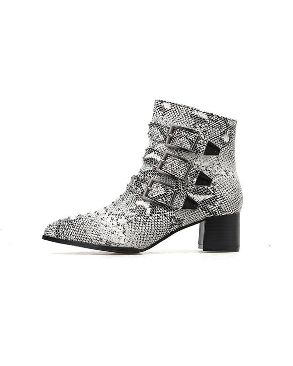 Three Buckles Snakeskin Pointed Toe Ankle Boots