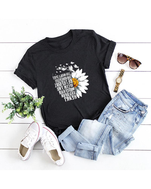Chrysanthemum Print Round Neck T-shirt