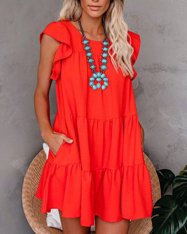 Ruffle Sleeve Mini Tunic Dress