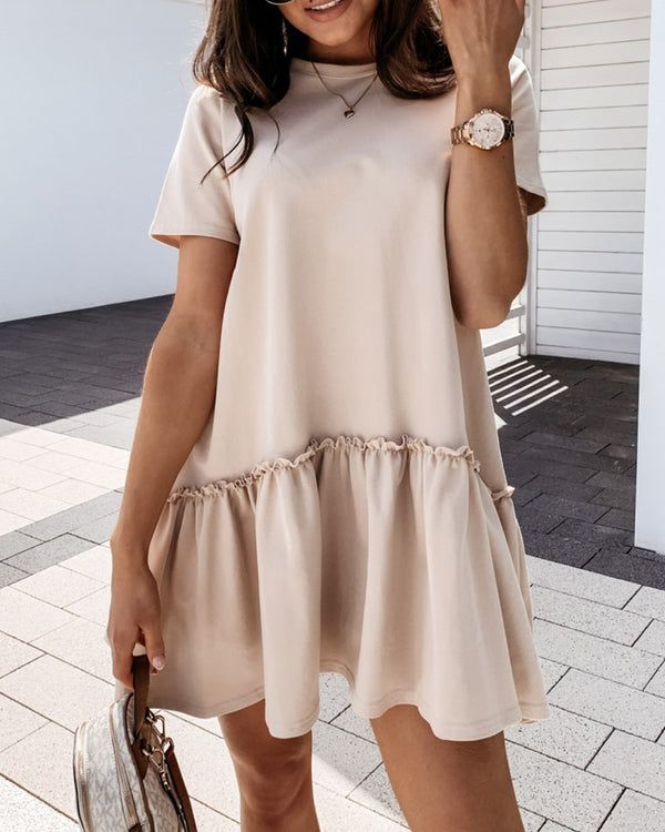Ruffles Frill Hem Ruched Casual Dress