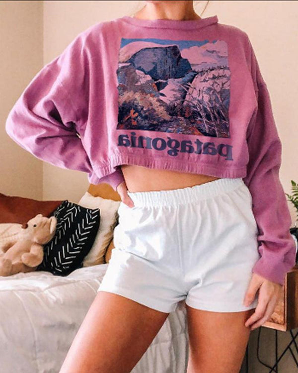 Print Long Sleeve Cropped T-shirt