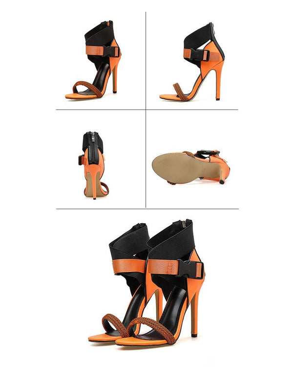 Coloblock Bandages Open-toe High Heel Sandals