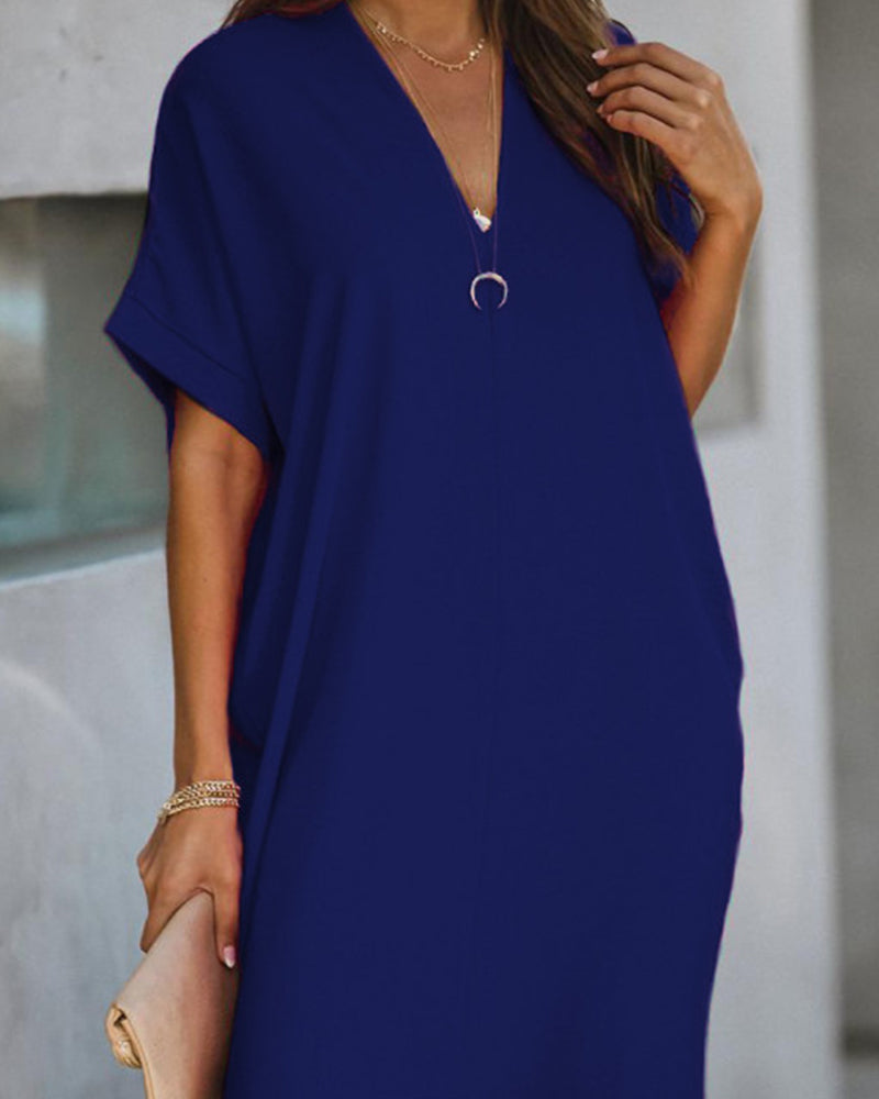 V Neck Shift Mini Dress