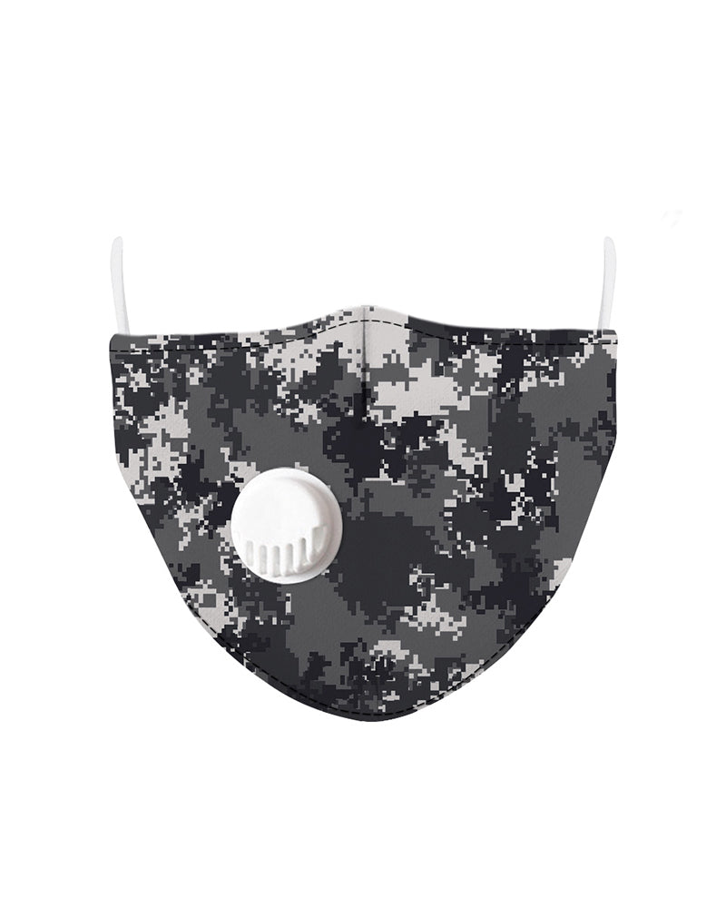 Camouflage Print Breathing Washable Valve Face Mask (2 filters as gift)