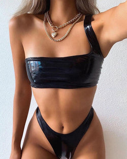 Coated PU One Shoulder Bikini Set