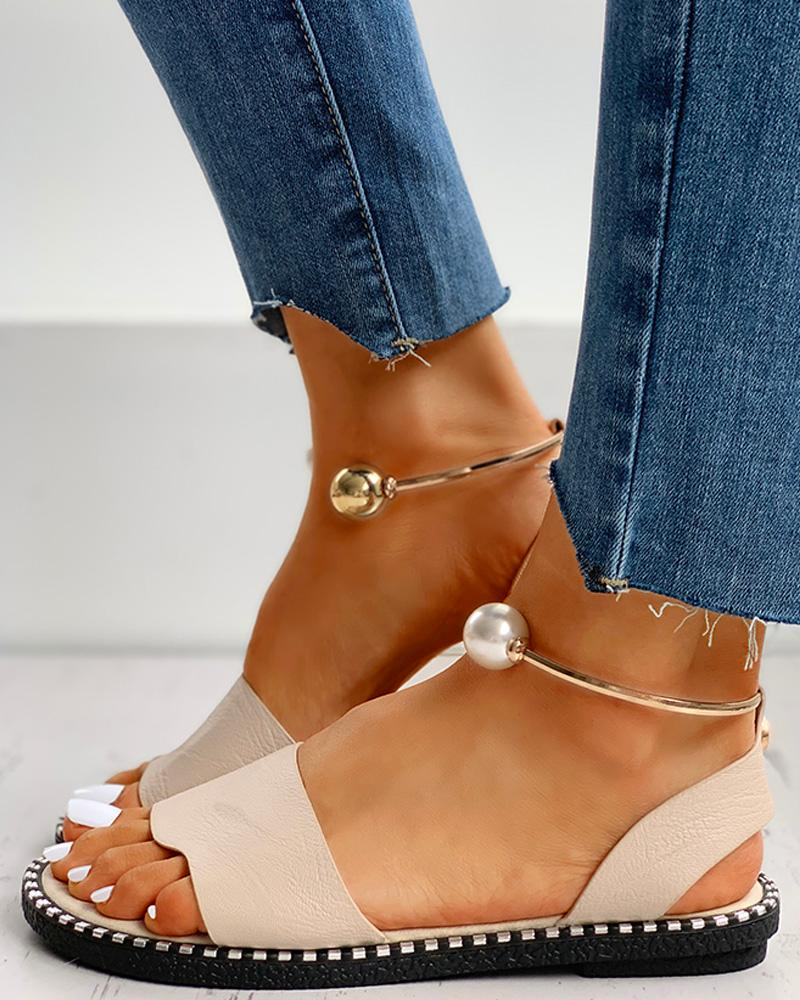 Beaded Ankle Ring Slingback Flat Sandals