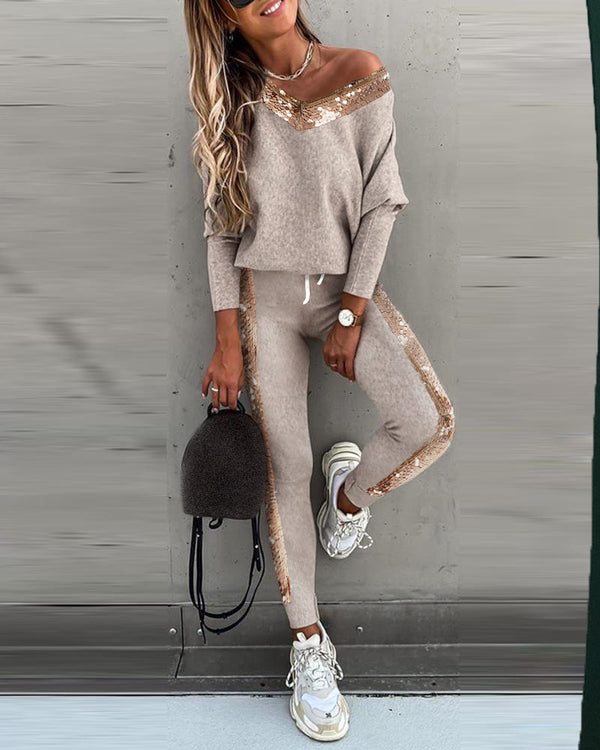Sequins Long Sleeve Top & High Waist Pants Set