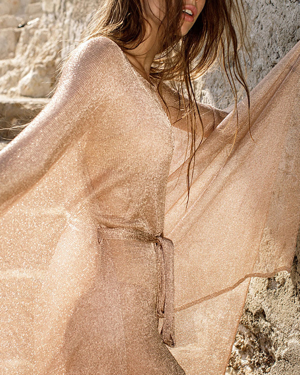 Glitter Long Sleeve Longline Cover Ups
