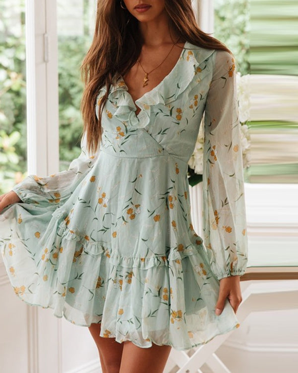 Floral Lantern Sleeve Cut-out Ruffles Dress