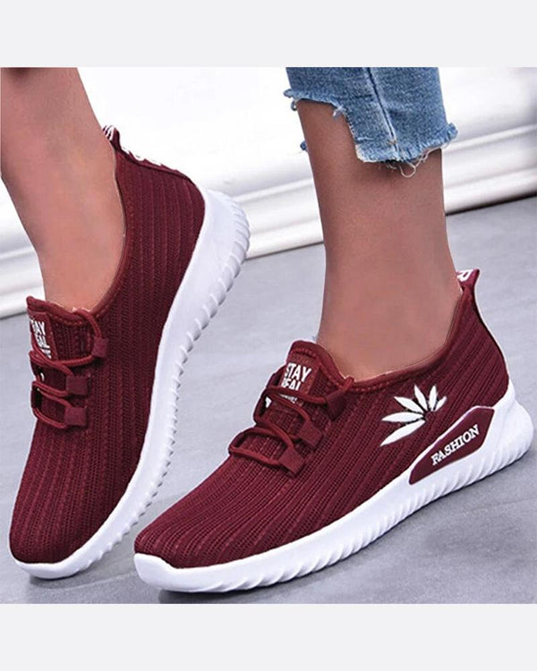 Print Colorblock Mesh Lace-up Athletic Sneakers