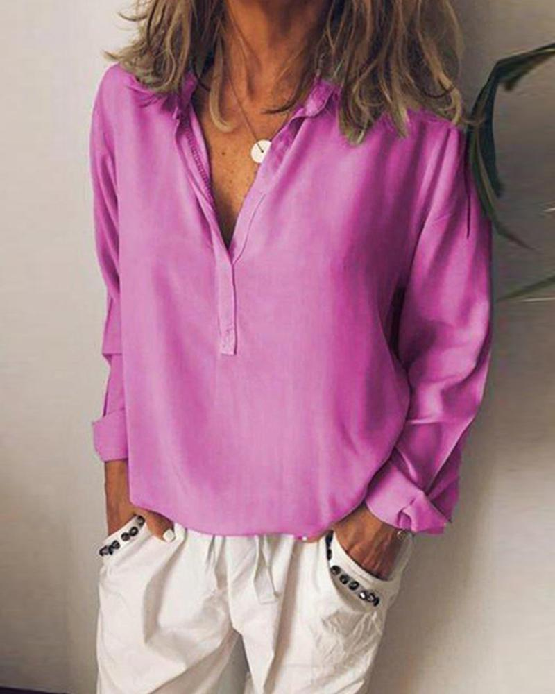 Solid V Neck Casual Plus Size Blouse