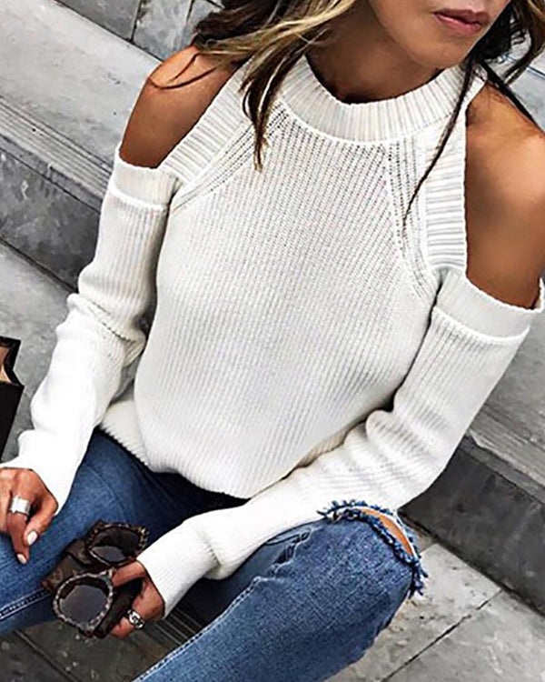 White Cold Shoulder Sweater