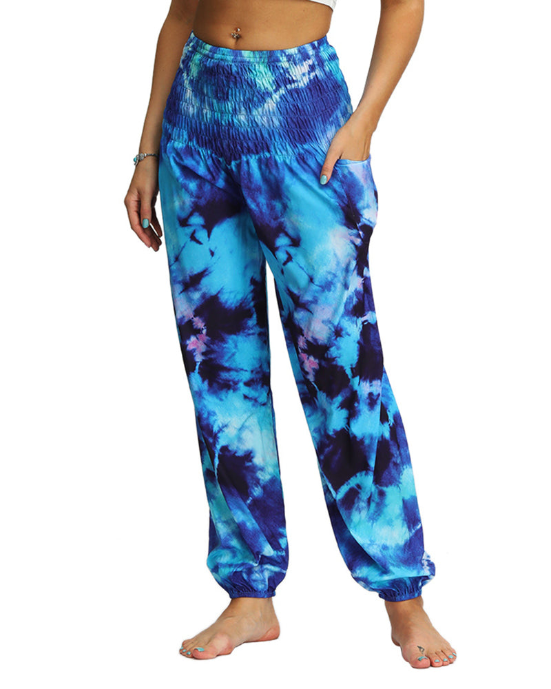 Tie Dye Print High Waist Wide Leg Yoga Pants