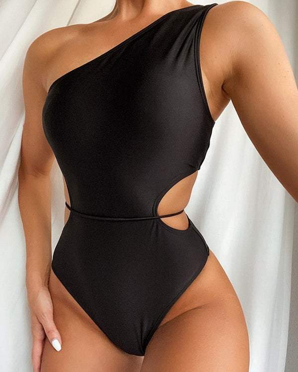 Plain One Shoulder Tie Detail One-Piece Swimsuit