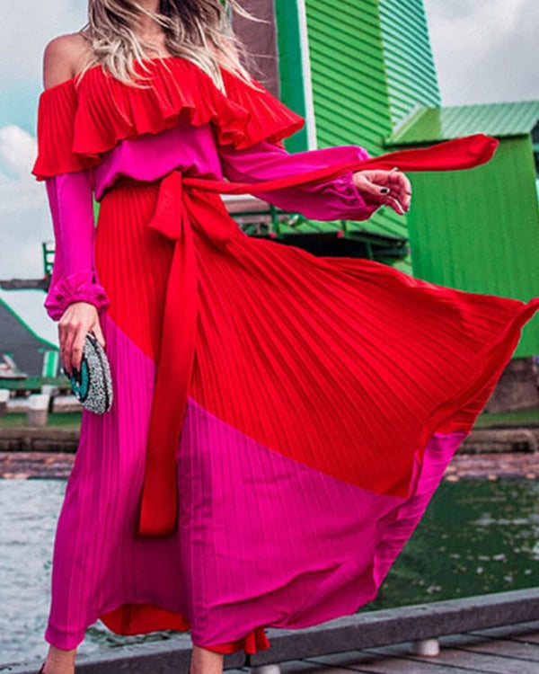 Solid Long Sleeve Loose Pleated Skinny Waist Off Shoulder Dress