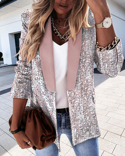 Sequins Colorblock Long Sleeve Blazer Coat