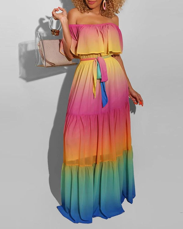 Off Shoulder Gradient Color Tie Dye Print Ruffles Maxi Dress