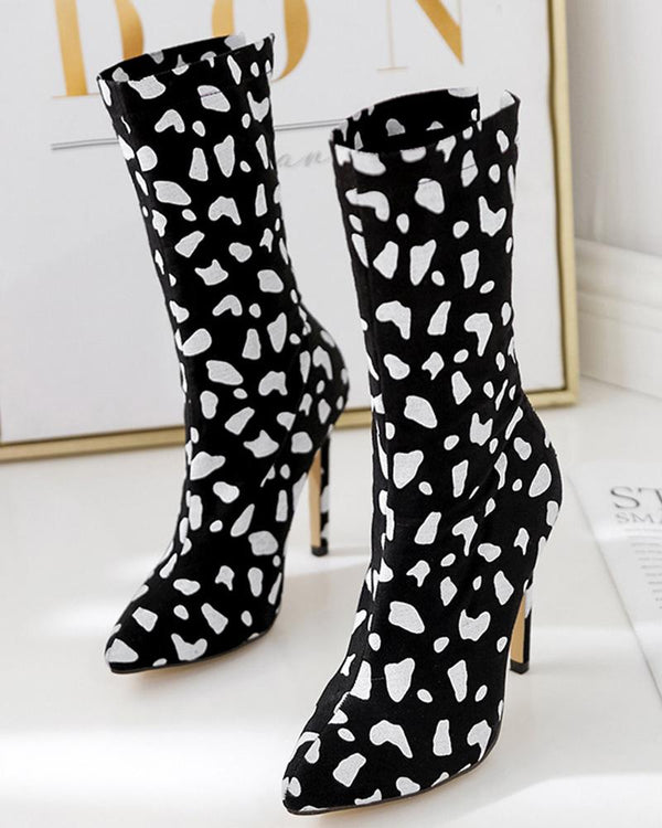 Cheetos Print Pointed Toe Sock High Heel Boots