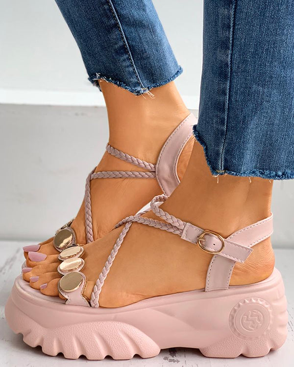 Metal Decor Bandage Slingback Muffin Sandals