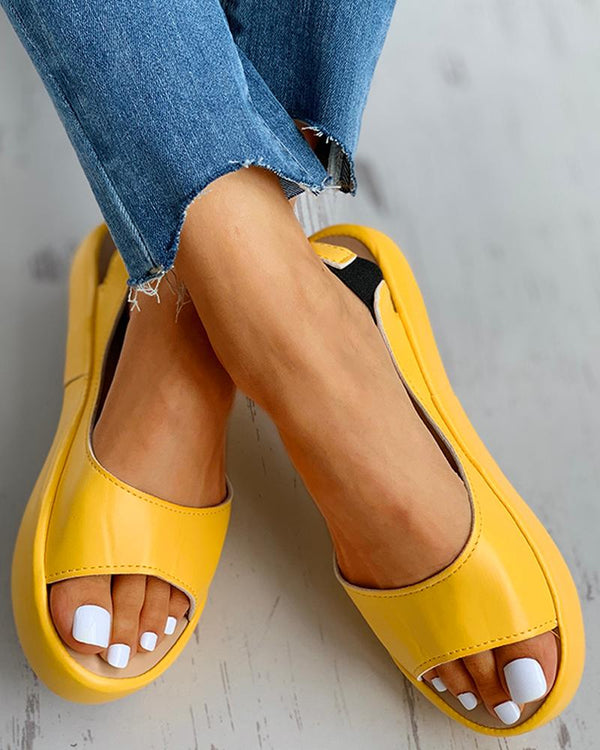 Candy Color Peep Toe Slingback Sandals
