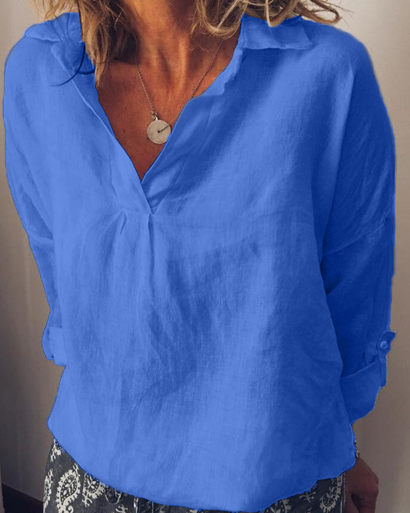 Solid color V-neck large size cotton and linen women