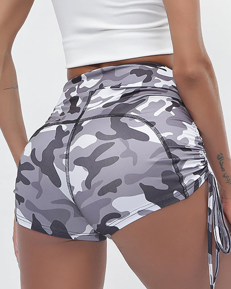 Camouflage Print Sporty Shorts