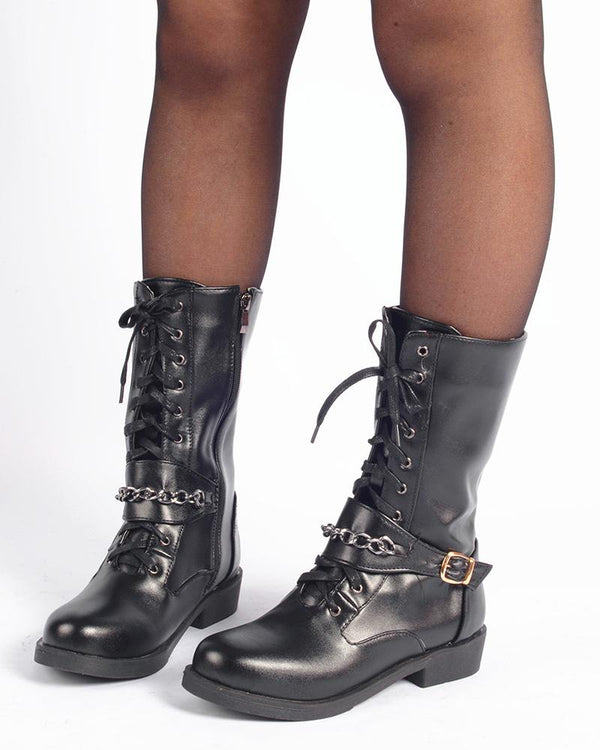 Lace-up Round-toe Solid Color Mid BootS
