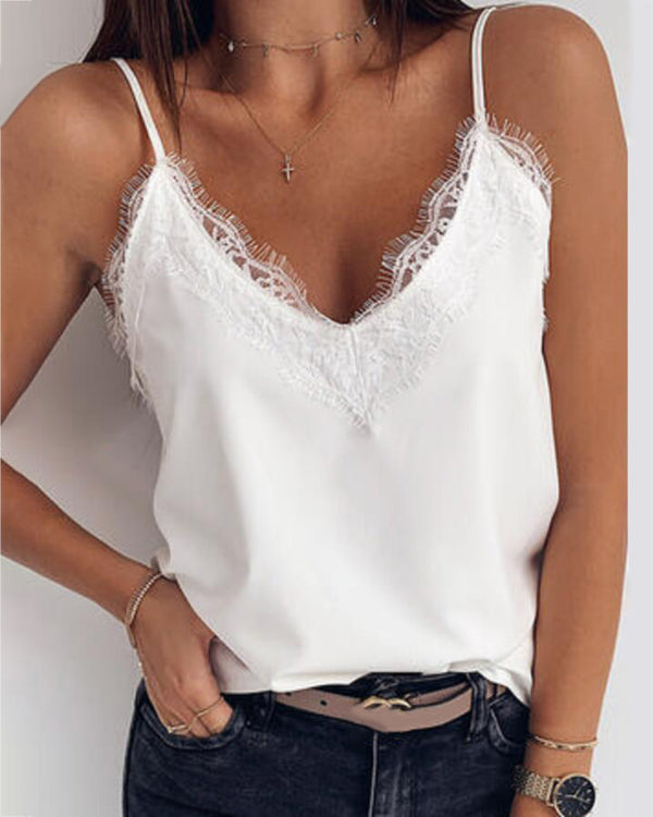 Eyelash Lace V-neck Casual Top