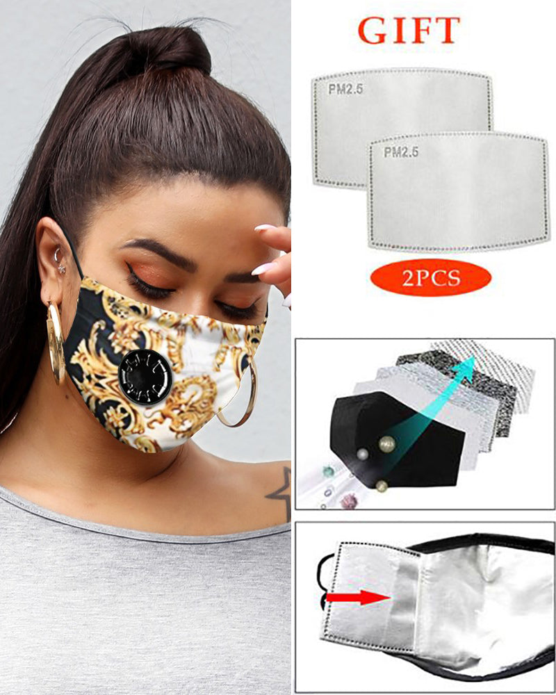 Print Breathing Washable Valve Face M .a. s. k (2 filters as gift)