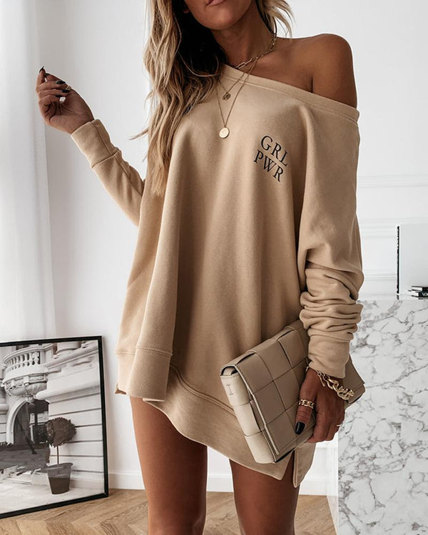Solid Loose Midi Long Sleeve Sweatshirts